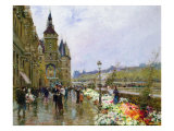 Flower Sellers by the Seine Giclee Print by Georges Stein