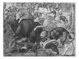 The Hunts of Maximilian, Capricorn, the Boar Hunt, Detail of Hounds Attacking the Boar Giclee Print by Bernard van Orley