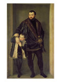 Giuseppe da Porto and his Son Adriano, c.1555 Giclee Print by Paolo Veronese