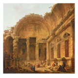 Interior of the Temple of Diana at Nimes, 1787 Reproduction procédé giclée par Hubert Robert