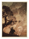 Wotan turns, looks sorrowfully back at Brunnhilde, illustration, 'The Rhinegold and the Valkyrie' Gicleetryck av Arthur Rackham