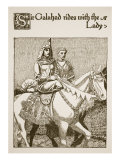 Sir Galahad Rides with the Lady, Illustration from 'The Story of Grail and the Passing of Arthur' Giclee Print by Howard Pyle