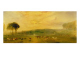 The Lake, Petworth: Sunset, Fighting Bucks, c.1829 Giclee Print by Joseph Mallord William Turner