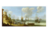 Dutch Warships in an Estuary Giclee Print by Adam Willaerts