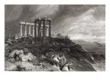 Temple of Minerva Sunium, engraved by J. Saddler Giclee Print by William Simpson