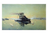 Cruiser 'Askold' Fighting on July 28th 1904 in the Yellow Sea, 1906 Giclee Print by Konstantin Veshchilov