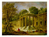 Pavilion with Cascade, 1760 Reproduction procédé giclée par Hubert Robert