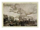 Peter Pan Flying over London, Illustration from 'Peter Pan' by J.M. Barrie Gicléetryck av Arthur Rackham
