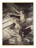 Il nostro avvertimento è reale, fuggi, fuggi dalla maledizione!', da 'Sigfrido e il crepuscolo degli dei' Stampa giclée di Arthur Rackham