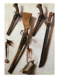 Trompe L'Oeil with Rifles, Sword and Gunpowder Horn Giclee Print by Vicente Victoria