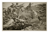 The Matabele War: Defending a Laager Giclee Print by Richard Caton Woodville