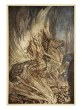 Brunnhilde on Grane leaps on funeral pyre, illustration, 'Siegfried and the Twilight of Gods' Giclee Print by Arthur Rackham