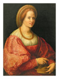 Portrait of a Woman with a Basket of Spindles, c.1514-17 Giclee Print by Jacopo da Carucci Pontormo