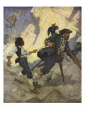 For all the world, I was led like a dancing bear an illustration from 'Treasure Island' by Robert L Giclee Print by Newell Convers Wyeth