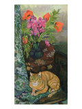 Bouquet and a Cat, 1919 Giclee Print by Marie Clementine Valadon