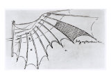 Detail of a Mechanical Wing, 1488-89 Giclee Print by Leonardo da Vinci 
