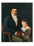 Portrait of a Member of the Barbet Family with his Son Giclee Print by Henri Francois Riesener