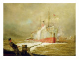 Docking a Cargo Ship Giclee Print by William Lionel Wyllie
