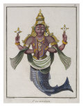 First Avatar of Vishnu as 'The Fish', Illustration Giclee Print by Pierre Sonnerat