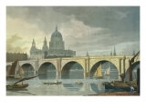 South West View of St Pauls Cathedral and Blackfriars Bridge, 1810 Giclee Print by George Fennel Robson