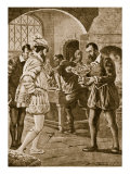 Francis I Visiting Benvenuto Cellini in His Workshop Giclee Print by Dudley C. Tennant