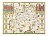 Map of Surrey, engraved by Jodocus Hondius Giclee Print by John Speed
