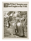 White Champion Meets Two Knights at Mill, Illustration, 'The Story of King Arthur and His Knights' Giclee Print by Howard Pyle