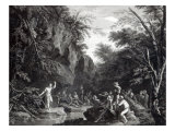 Saint John preaching in the Wilderness, engraved by John Browne, 1768 Giclée-tryk af Salvator Rosa