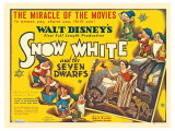 Snow White and the Seven Dwarfs, UK Movie Poster, 1937 Giclée-tryk