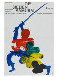 Seven Samurai, German Movie Poster, 1954 Kunst