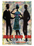 Jules and Jim, German Movie Poster, 1961 Giclee Print