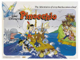 Pinocchio, UK Movie Poster, 1940 Reproduction procédé giclée
