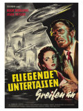 Earth vs. the Flying Saucers, German Movie Poster, 1956 Premium Giclee Print