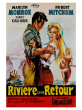 River of No Return, French Movie Poster, 1954 Reproduction procédé giclée