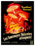 Earth vs. the Flying Saucers, French Movie Poster, 1956 Premium Giclee Print