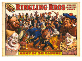 Ringling Bros - Army of 50 Clowns, 1960 Giclee Print