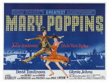 Mary Poppins, UK Movie Poster, 1964 Reproduction procédé giclée