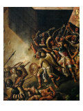 Screen with Scenes of the Spanish Conquest: Battle Among Aztec and Spanish Soldiers, Detail Giclee Print