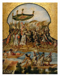 Screen with Scenes of the Spanish Conquest: Arrival of the Emperor Montezuma Lámina giclée