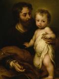 Saint Joseph with Jesus Giclée-tryk af Bartolome Esteban Murillo