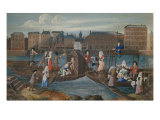 Ships with Fish Dealer and Washerwomen at Quai de la Megisserie, c. 1670 Giclee Print