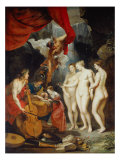 Education of Marie de Medicis Lmina gicle por Peter Paul Rubens
