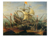 Naval Battle Giclee Print by Abraham Storck