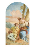Angelica Carving Medoro's Name on a Tree Giclee Print by Giambattista Tiepolo