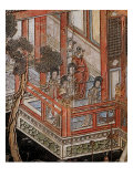Screen Called 'Coromandel' with Scenes from Life in Forbidden Town of Peking: Musicians and Women Giclee Print
