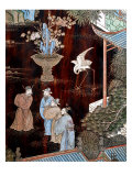 Screen Called 'Coromandel' with Scenes from Life in Forbidden Town of Peking: Dignitaries in Garden Giclee Print