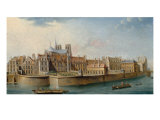View of the Cloister of Notre-Dame Towards the River Seine Giclee Print by Nicolas & Jean Baptiste Raguenet