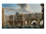Joust of Sailors Between the Bridge of Notre-Dame and the Bridge au Change, 1756 Giclee Print by Nicolas & Jean Baptiste Raguenet