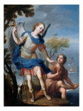 The Arcangel Raphael and Tobias Giclee Print by Miguel Cabrera