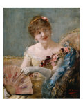 Portrait of a Woman with Fan, 1879 Giclee Print by Henri Gervex